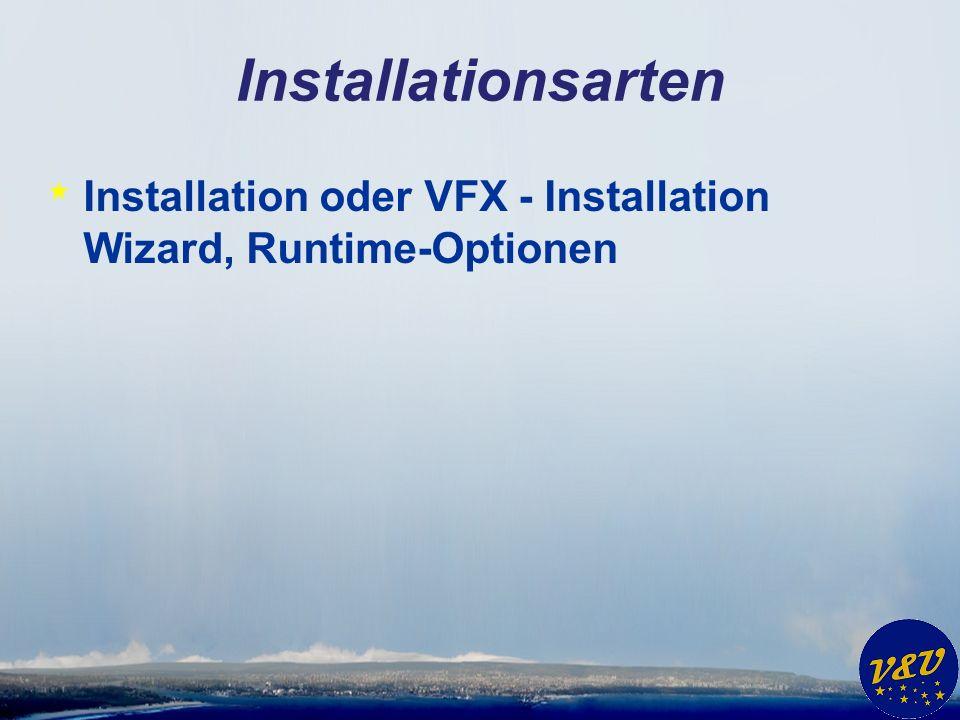Installationsarten * Installation oder VFX - Installation Wizard, Runtime-Optionen