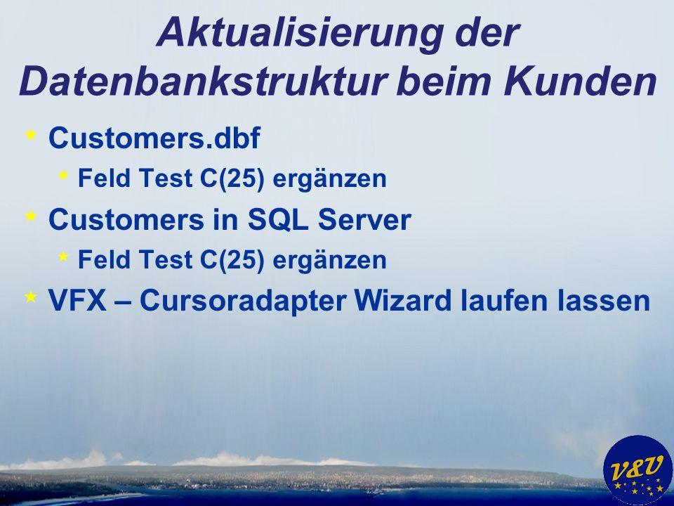 Aktualisierung der Datenbankstruktur beim Kunden * Customers.dbf * Feld Test C(25) ergänzen * Customers in SQL Server * Feld Test C(25) ergänzen * VFX – Cursoradapter Wizard laufen lassen