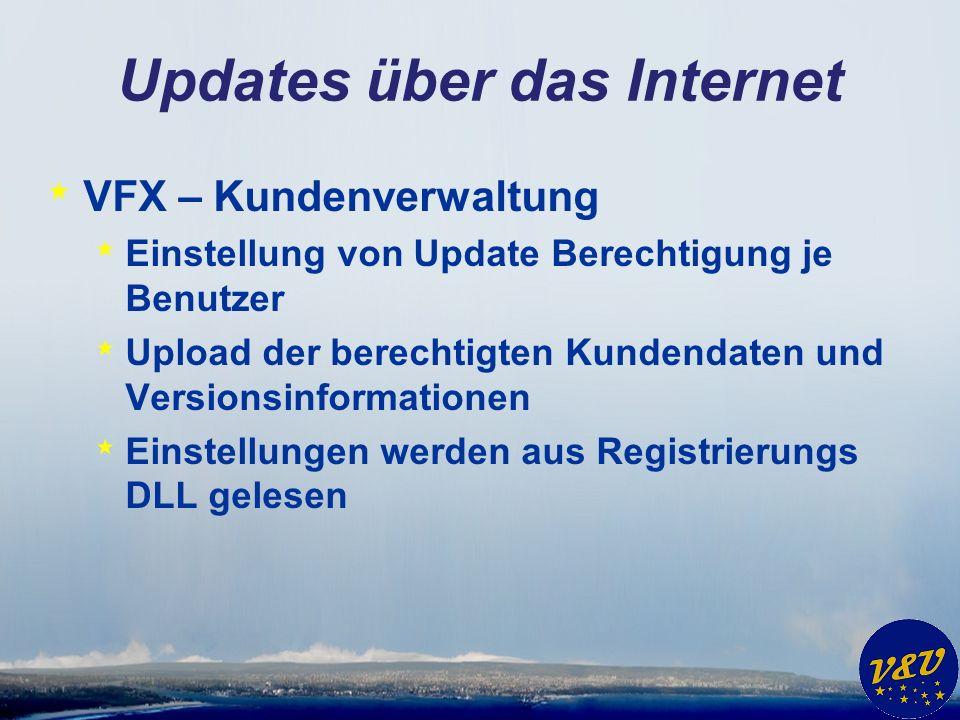 Updates über das Internet * VFX – Kundenverwaltung * Einstellung von Update Berechtigung je Benutzer * Upload der berechtigten Kundendaten und Version