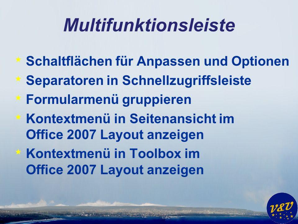 Multifunktionsleiste * Schaltflächen für Anpassen und Optionen * Separatoren in Schnellzugriffsleiste * Formularmenü gruppieren * Kontextmenü in Seite