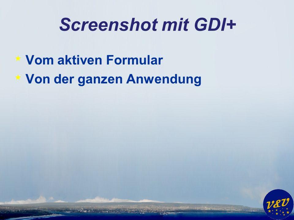 Screenshot mit GDI+ * Vom aktiven Formular * Von der ganzen Anwendung