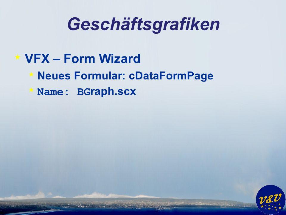 Geschäftsgrafiken * VFX – Form Wizard * Neues Formular: cDataFormPage * Name: BG raph.scx