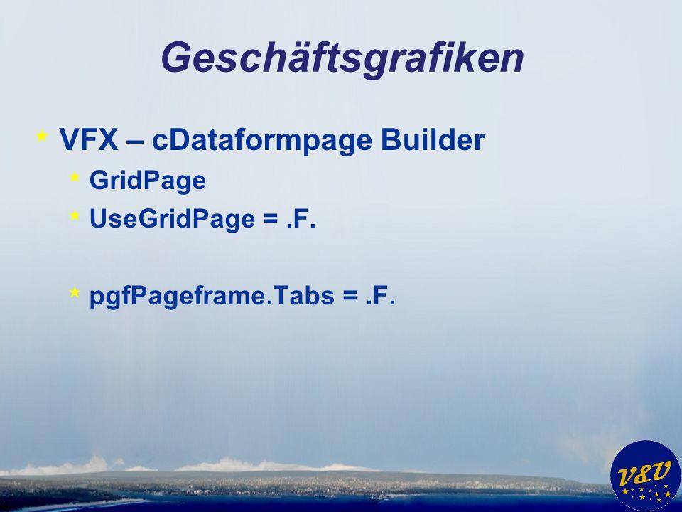 Geschäftsgrafiken * VFX – cDataformpage Builder * GridPage * UseGridPage =.F. * pgfPageframe.Tabs =.F.