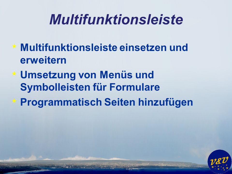 Multifunktionsleiste * Multifunktionsleiste einsetzen und erweitern * Umsetzung von Menüs und Symbolleisten für Formulare * Programmatisch Seiten hinz