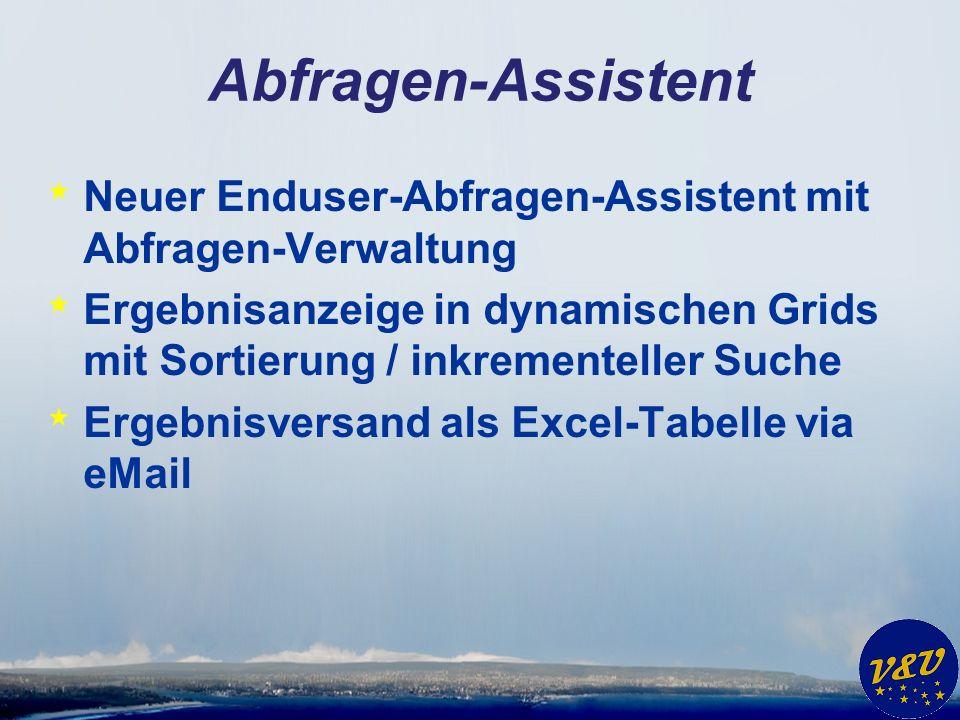 Abfragen-Assistent * Neuer Enduser-Abfragen-Assistent mit Abfragen-Verwaltung * Ergebnisanzeige in dynamischen Grids mit Sortierung / inkrementeller S