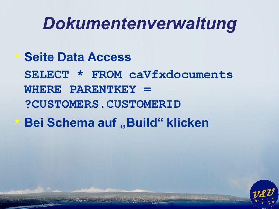 Geschäftsgrafiken * VFX – Dataenvironment Builder * NewCA * name = caGraphData * alias = caGraphData * use conn settings in builder only