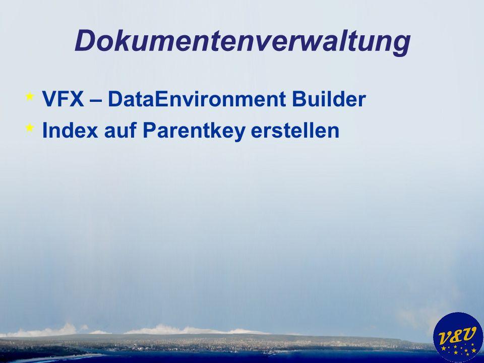 Dokumentenverwaltung * VFX – DataEnvironment Builder * Index auf Parentkey erstellen