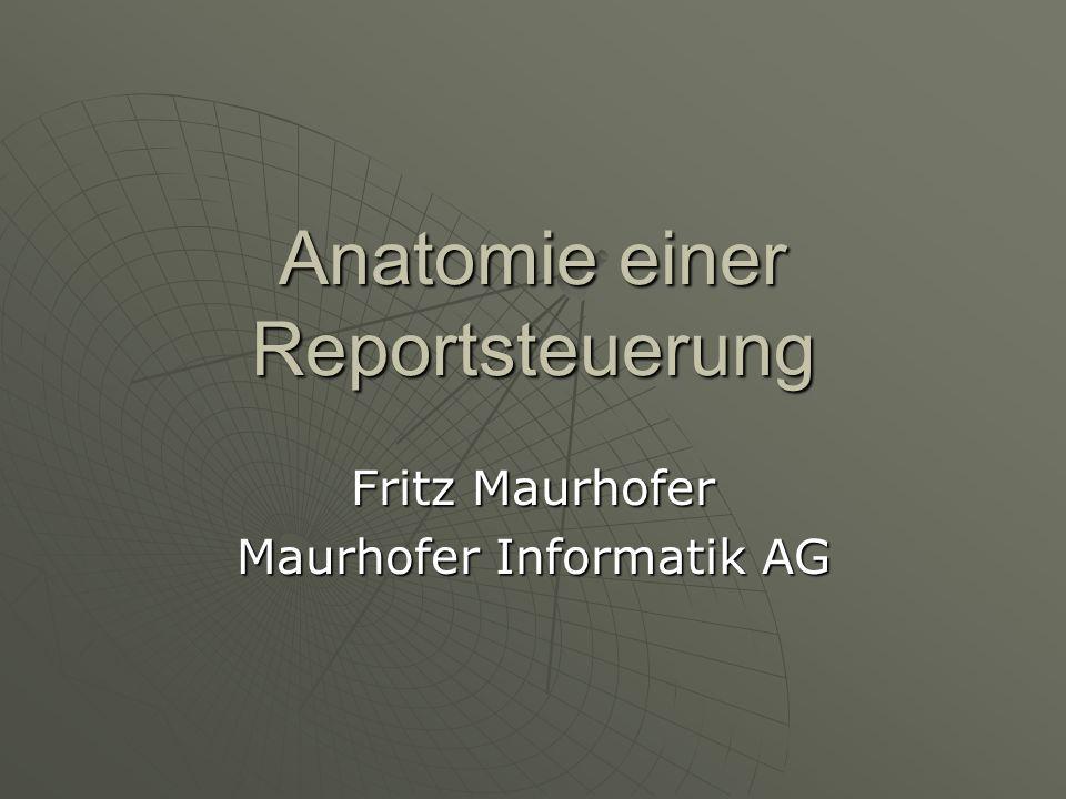 Anatomie einer Reportsteuerung Fritz Maurhofer Maurhofer Informatik AG