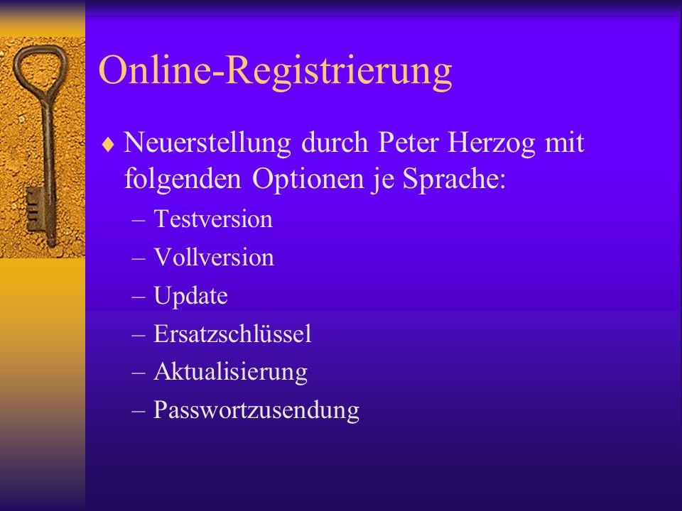 Online-Registrierung Neuerstellung durch Peter Herzog mit folgenden Optionen je Sprache: –Testversion –Vollversion –Update –Ersatzschlüssel –Aktualisierung –Passwortzusendung