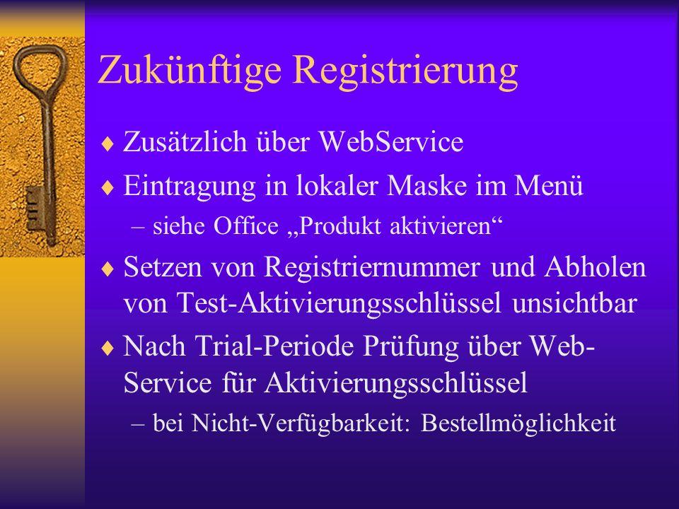 Zukünftige Registrierung Zusätzlich über WebService Eintragung in lokaler Maske im Menü –siehe Office Produkt aktivieren Setzen von Registriernummer und Abholen von Test-Aktivierungsschlüssel unsichtbar Nach Trial-Periode Prüfung über Web- Service für Aktivierungsschlüssel –bei Nicht-Verfügbarkeit: Bestellmöglichkeit