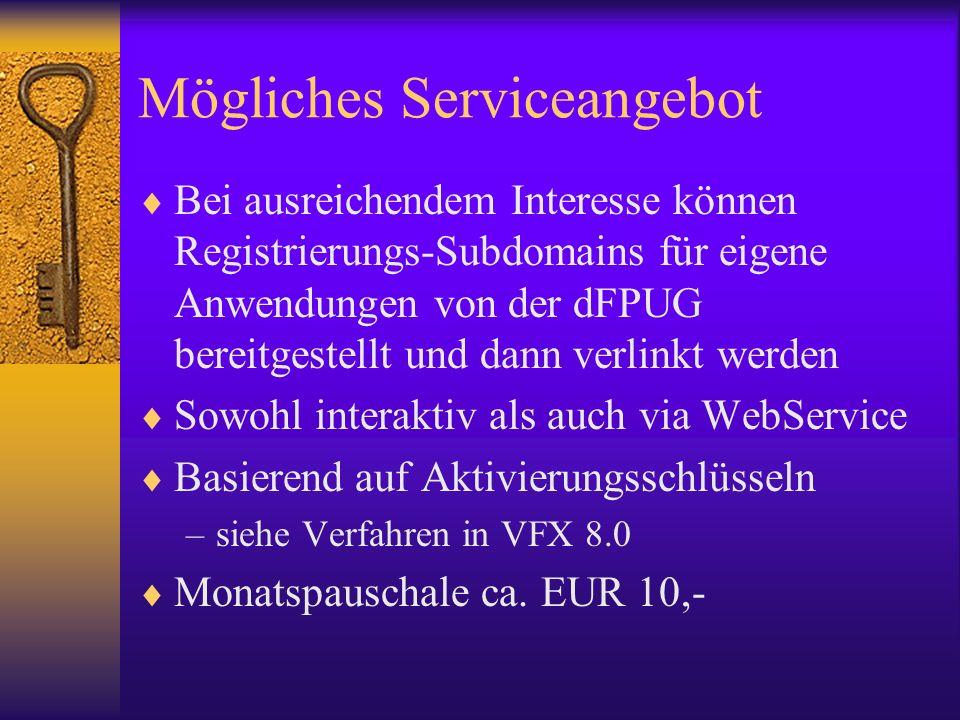 Mögliches Serviceangebot Bei ausreichendem Interesse können Registrierungs-Subdomains für eigene Anwendungen von der dFPUG bereitgestellt und dann ver