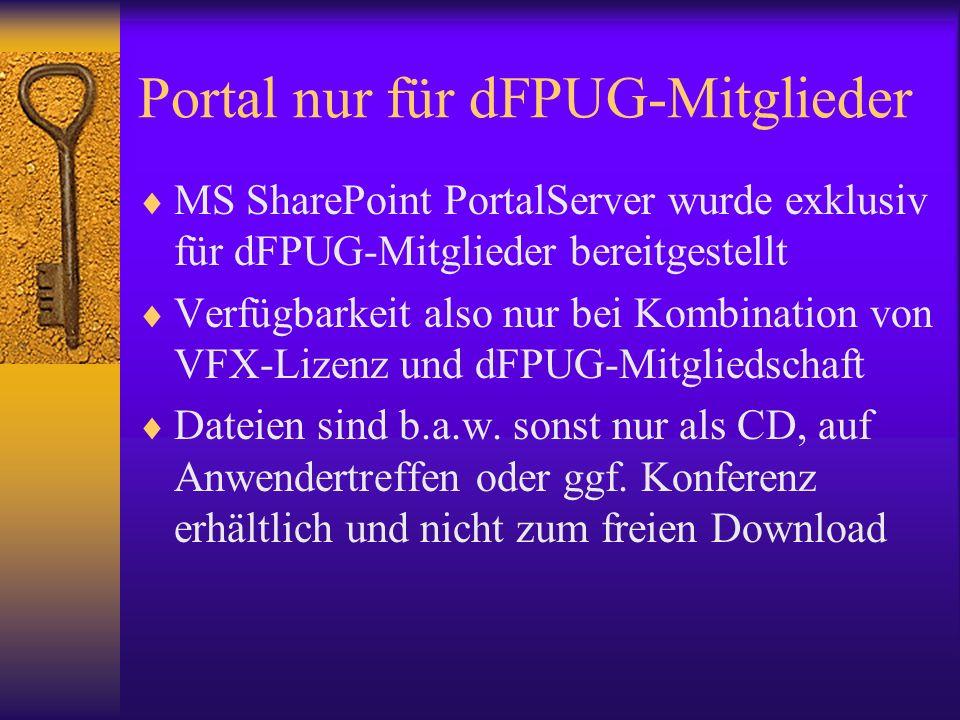 Portal nur für dFPUG-Mitglieder MS SharePoint PortalServer wurde exklusiv für dFPUG-Mitglieder bereitgestellt Verfügbarkeit also nur bei Kombination v