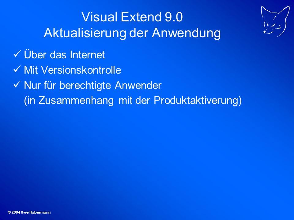 © 2004 Uwe Habermann Visual Extend 9.0 Aktualisierung der Anwendung Über das Internet Mit Versionskontrolle Nur für berechtigte Anwender (in Zusammenhang mit der Produktaktiverung)