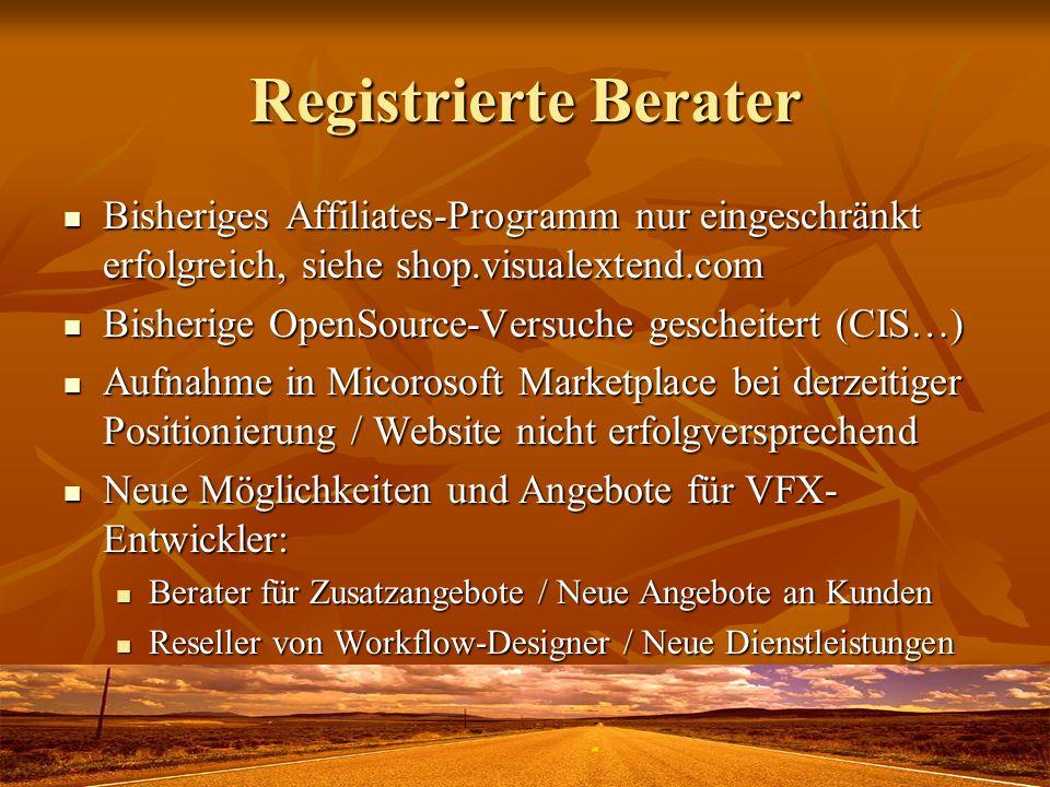 Registrierte Berater Bisheriges Affiliates-Programm nur eingeschränkt erfolgreich, siehe shop.visualextend.com Bisheriges Affiliates-Programm nur eing