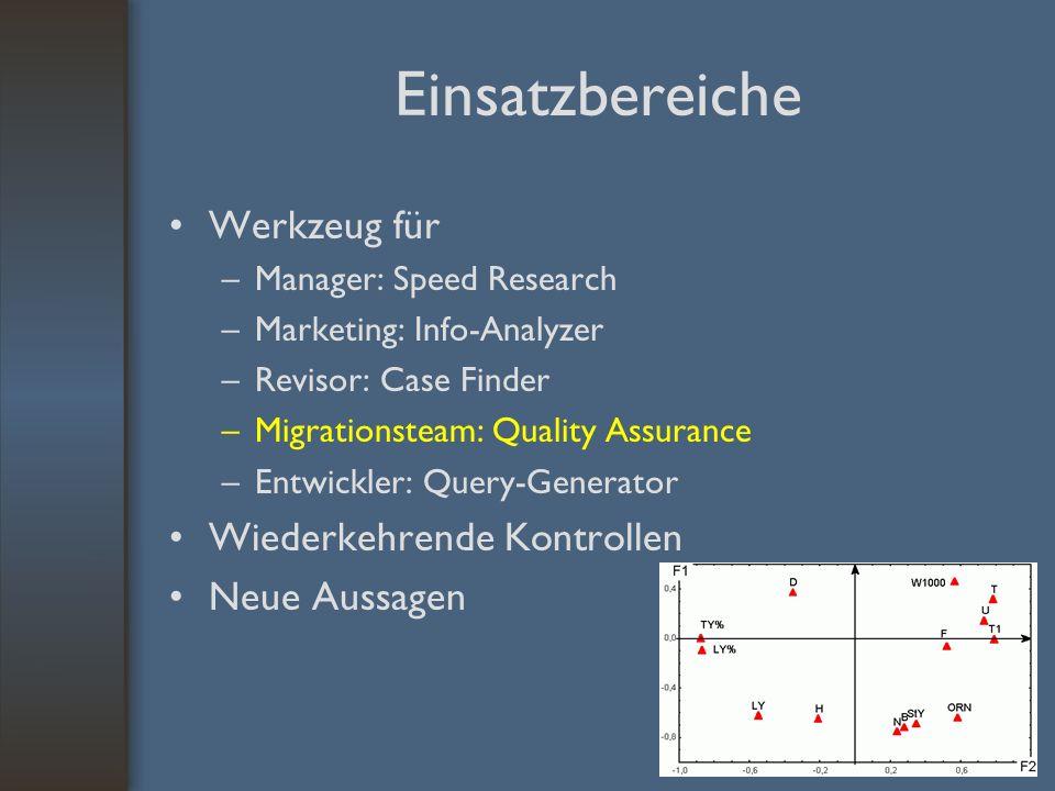 Einsatzbereiche Werkzeug für –Manager: Speed Research –Marketing: Info-Analyzer –Revisor: Case Finder –Migrationsteam: Quality Assurance –Entwickler: Query-Generator Wiederkehrende Kontrollen Neue Aussagen