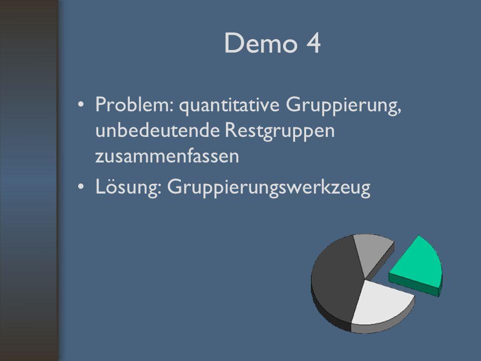 Demo 4 Problem: quantitative Gruppierung, unbedeutende Restgruppen zusammenfassen Lösung: Gruppierungswerkzeug
