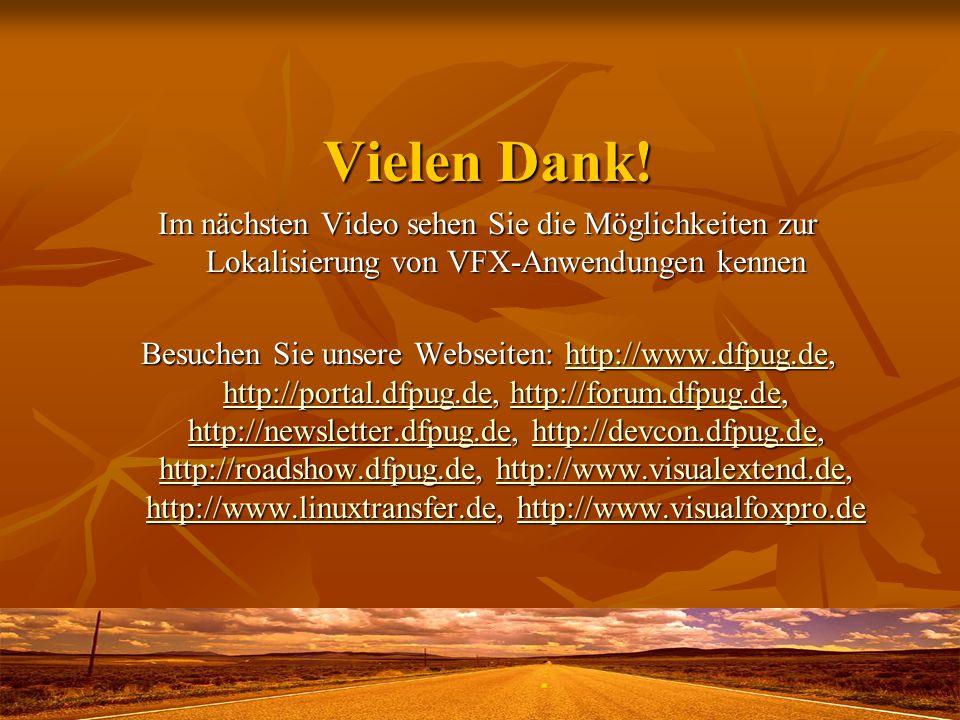Vielen Dank! Im nächsten Video sehen Sie die Möglichkeiten zur Lokalisierung von VFX-Anwendungen kennen Besuchen Sie unsere Webseiten: http://www.dfpu