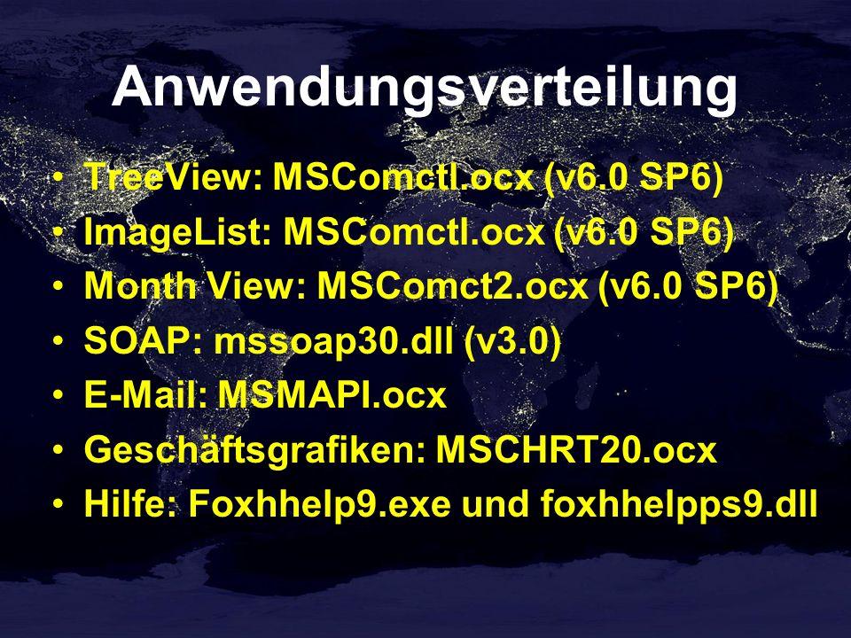 Anwendungsverteilung TreeView: MSComctl.ocx (v6.0 SP6) ImageList: MSComctl.ocx (v6.0 SP6) Month View: MSComct2.ocx (v6.0 SP6) SOAP: mssoap30.dll (v3.0) E-Mail: MSMAPI.ocx Geschäftsgrafiken: MSCHRT20.ocx Hilfe: Foxhhelp9.exe und foxhhelpps9.dll