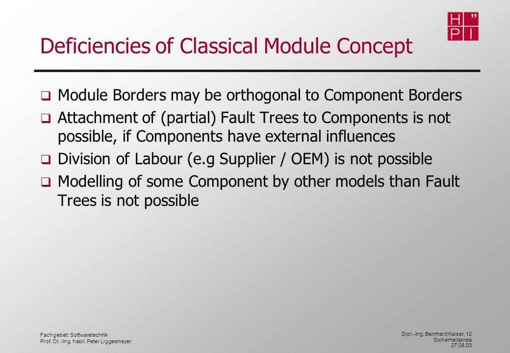 Fachgebiet: Softwaretechnik Prof. Dr.-Ing. habil. Peter Liggesmeyer Dipl.-Ing. Bernhard Kaiser, 12 Sicherheitskreis 27.08.03 Deficiencies of Classical