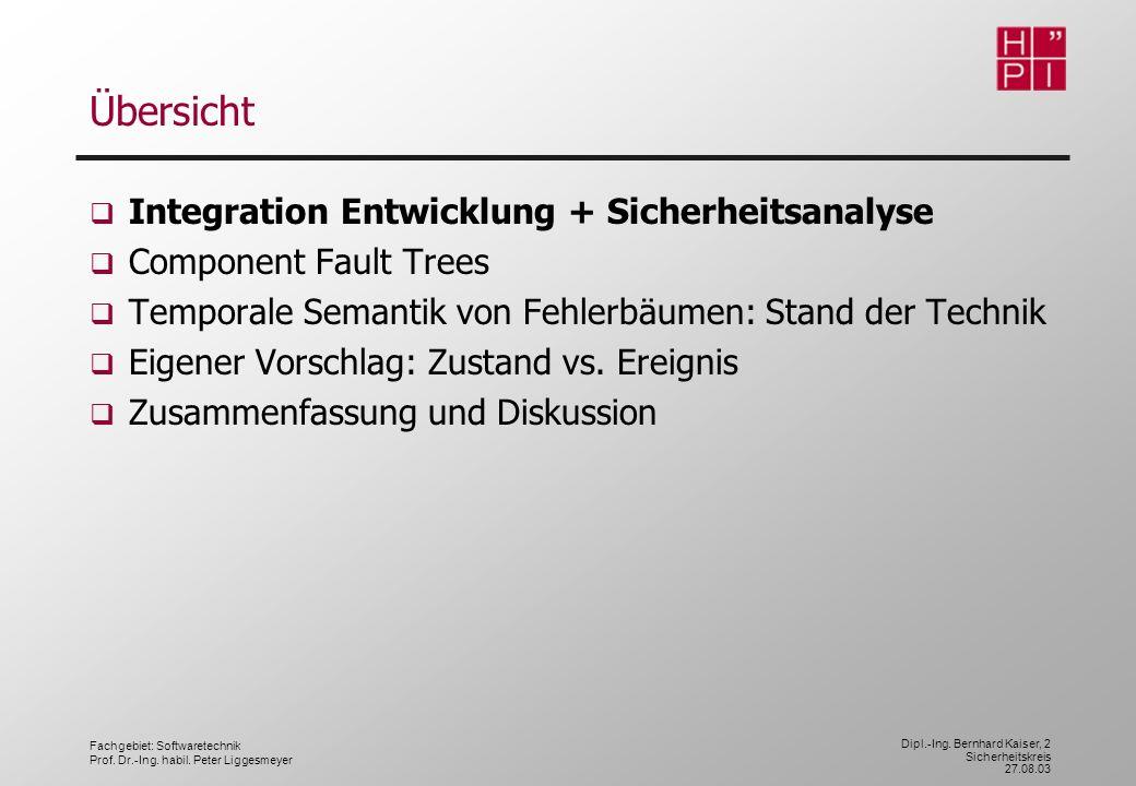 Fachgebiet: Softwaretechnik Prof. Dr.-Ing. habil. Peter Liggesmeyer Dipl.-Ing. Bernhard Kaiser, 2 Sicherheitskreis 27.08.03 Übersicht Integration Entw