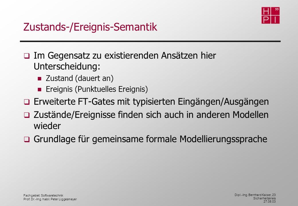 Fachgebiet: Softwaretechnik Prof. Dr.-Ing. habil. Peter Liggesmeyer Dipl.-Ing. Bernhard Kaiser, 23 Sicherheitskreis 27.08.03 Zustands-/Ereignis-Semant