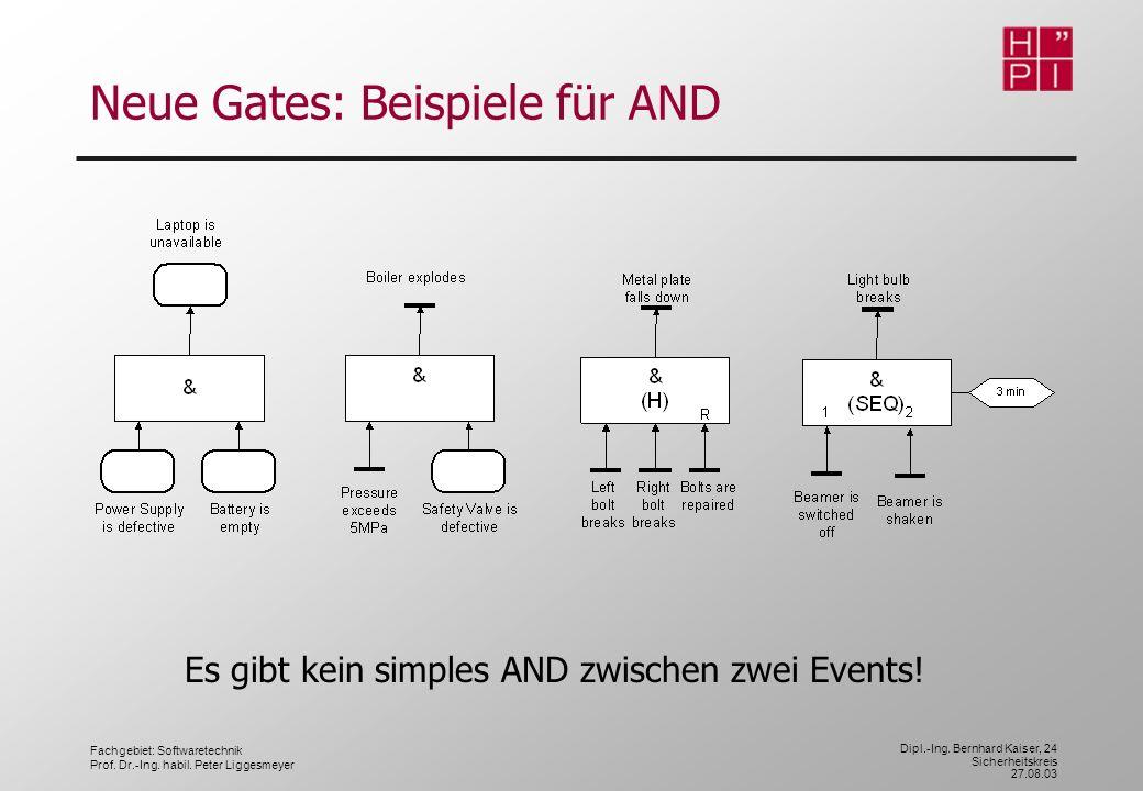 Fachgebiet: Softwaretechnik Prof. Dr.-Ing. habil. Peter Liggesmeyer Dipl.-Ing. Bernhard Kaiser, 24 Sicherheitskreis 27.08.03 Neue Gates: Beispiele für