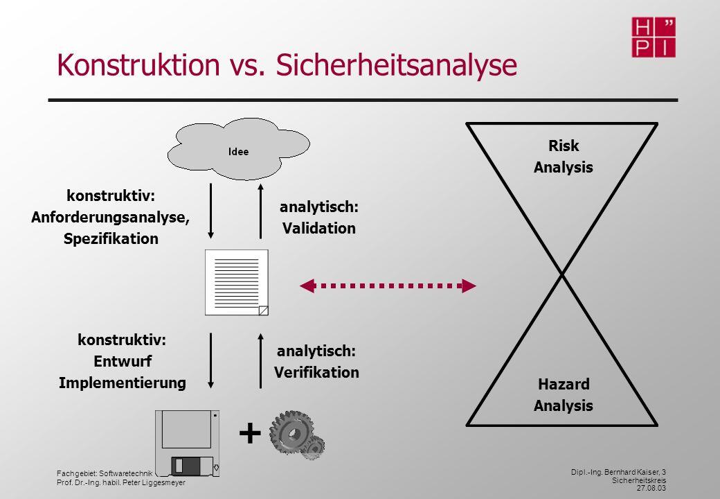 Fachgebiet: Softwaretechnik Prof. Dr.-Ing. habil. Peter Liggesmeyer Dipl.-Ing. Bernhard Kaiser, 3 Sicherheitskreis 27.08.03 + konstruktiv: Anforderung