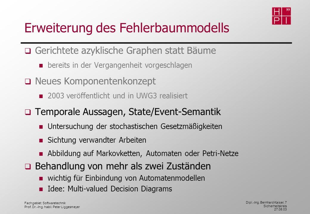 Fachgebiet: Softwaretechnik Prof. Dr.-Ing. habil. Peter Liggesmeyer Dipl.-Ing. Bernhard Kaiser, 7 Sicherheitskreis 27.08.03 Erweiterung des Fehlerbaum