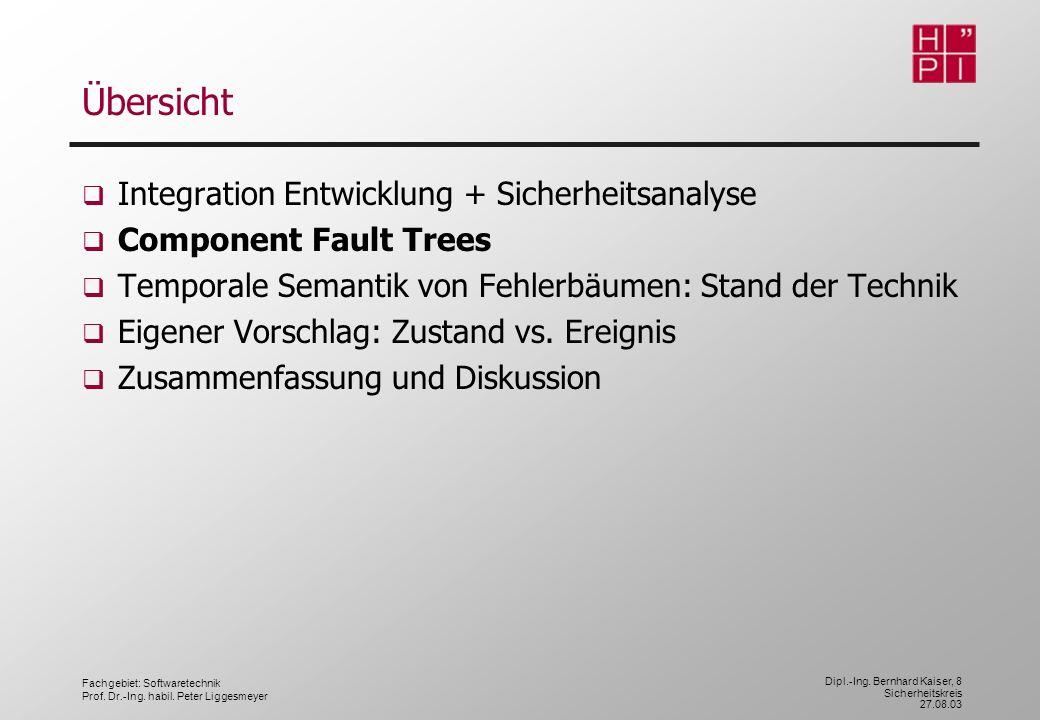 Fachgebiet: Softwaretechnik Prof. Dr.-Ing. habil. Peter Liggesmeyer Dipl.-Ing. Bernhard Kaiser, 8 Sicherheitskreis 27.08.03 Übersicht Integration Entw