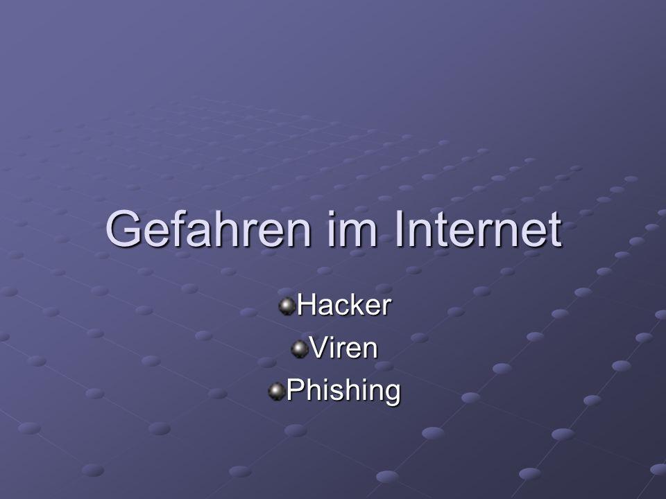 Gefahren im Internet HackerVirenPhishing