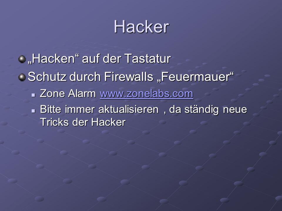 Hacker Hacken auf der Tastatur Schutz durch Firewalls Feuermauer Zone Alarm www.zonelabs.com Zone Alarm www.zonelabs.comwww.zonelabs.com Bitte immer a
