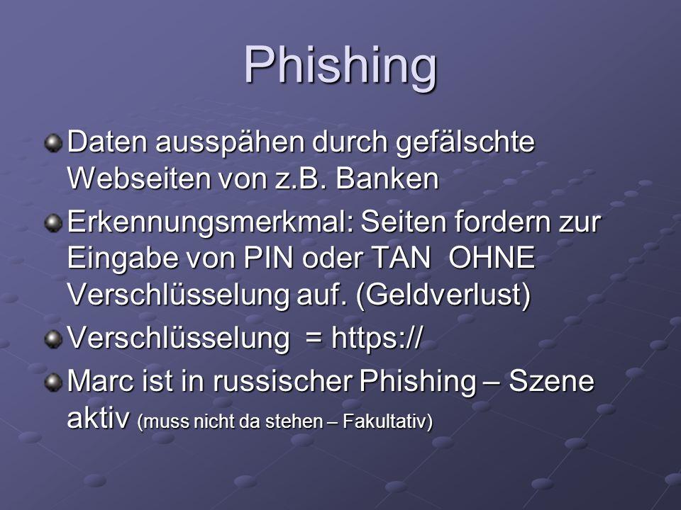 Phishing Daten ausspähen durch gefälschte Webseiten von z.B. Banken Erkennungsmerkmal: Seiten fordern zur Eingabe von PIN oder TAN OHNE Verschlüsselun