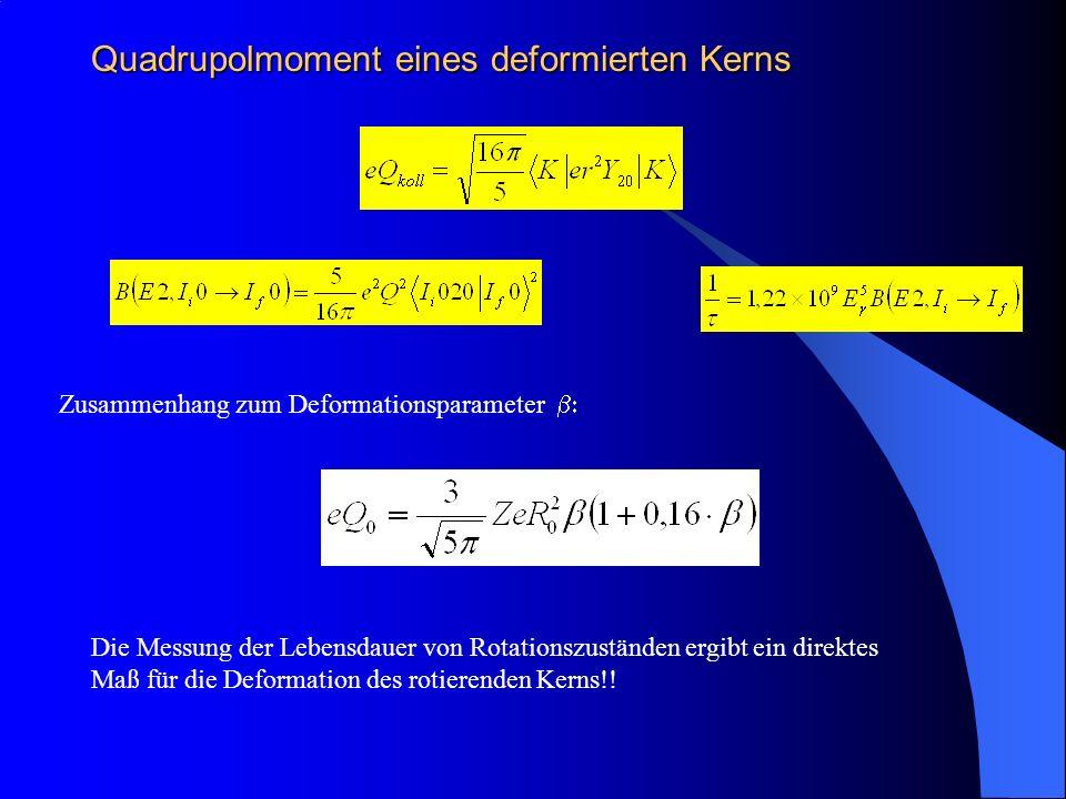 Quadrupolmoment eines deformierten Kerns Zusammenhang zum Deformationsparameter Die Messung der Lebensdauer von Rotationszuständen ergibt ein direktes