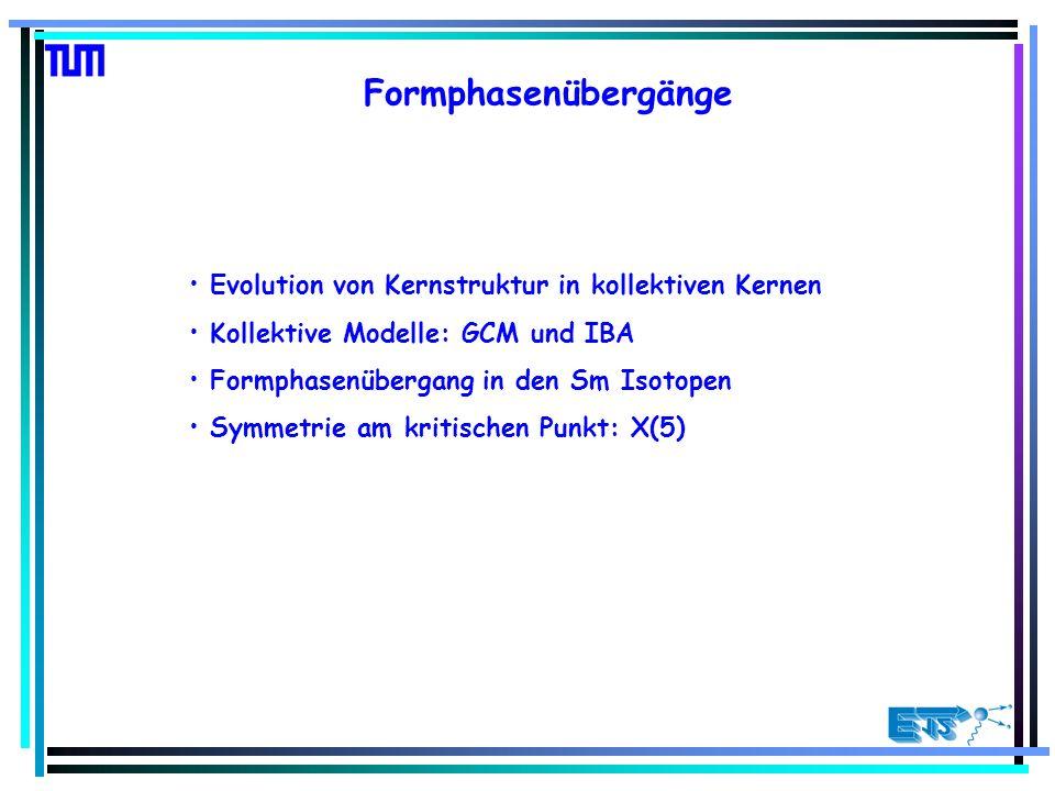 Formphasenübergänge Evolution von Kernstruktur in kollektiven Kernen Kollektive Modelle: GCM und IBA Formphasenübergang in den Sm Isotopen Symmetrie am kritischen Punkt: X(5)