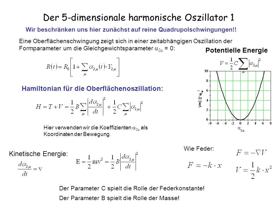Der 5-dimensionale harmonische Oszillator 2 Bewegungsgleichung: Abschätzungen für die Parameter B und C: Wirbelfreie Flüssigkeit (Ring & Schuck) Weizäcker Massenformel surface Coulomb In jeder Richtung Das Problem hat fünf Dimensionen: 2-2, 2-1, 20, 21, 22