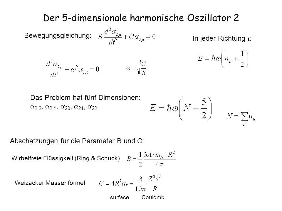 Der 5-dimensionale harmonische Oszillator 2 Bewegungsgleichung: Abschätzungen für die Parameter B und C: Wirbelfreie Flüssigkeit (Ring & Schuck) Weizä