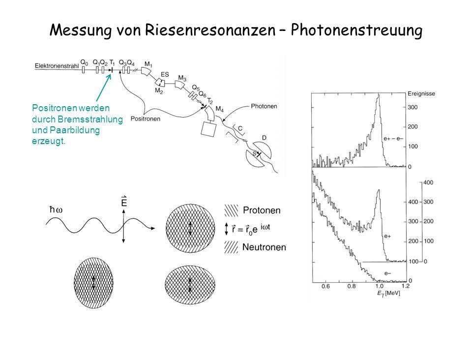 Messung von Riesenresonanzen – Photonenstreuung Positronen werden durch Bremsstrahlung und Paarbildung erzeugt.