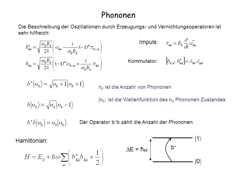 Phononen Die Beschreibung der Oszillationen durch Erzeugungs- und Vernichtungsoperatoren ist sehr hilfreich: Impuls: Kommutator: Hamiltonian: b+b+ |0