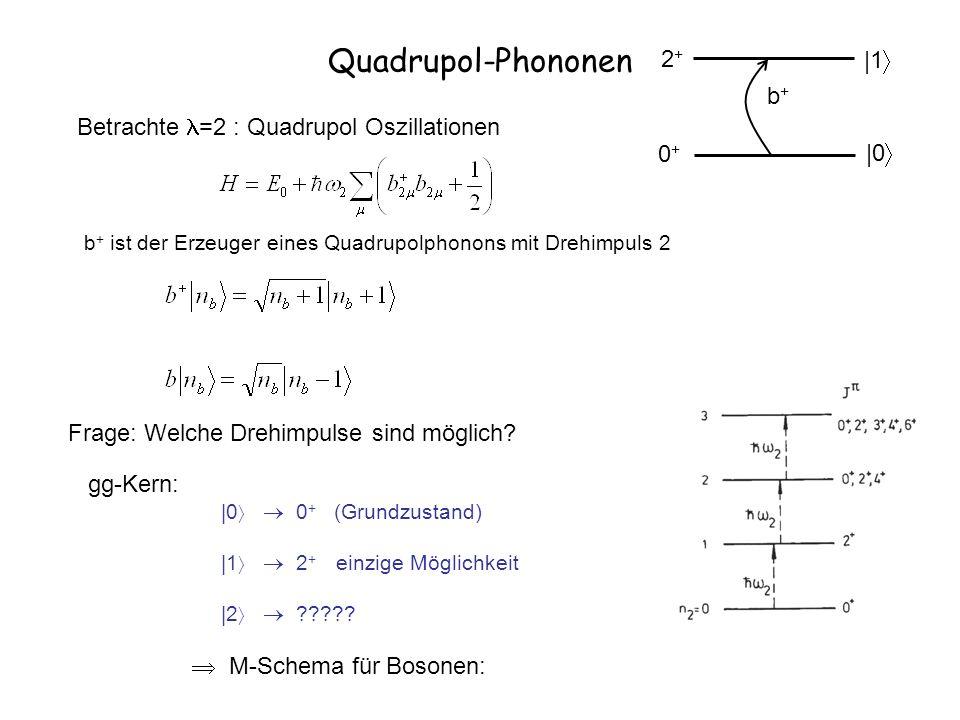 Quadrupol-Phononen b+b+ |0 |1 0+0+ 2+2+ b + ist der Erzeuger eines Quadrupolphonons mit Drehimpuls 2 Betrachte =2 : Quadrupol Oszillationen Frage: Wel
