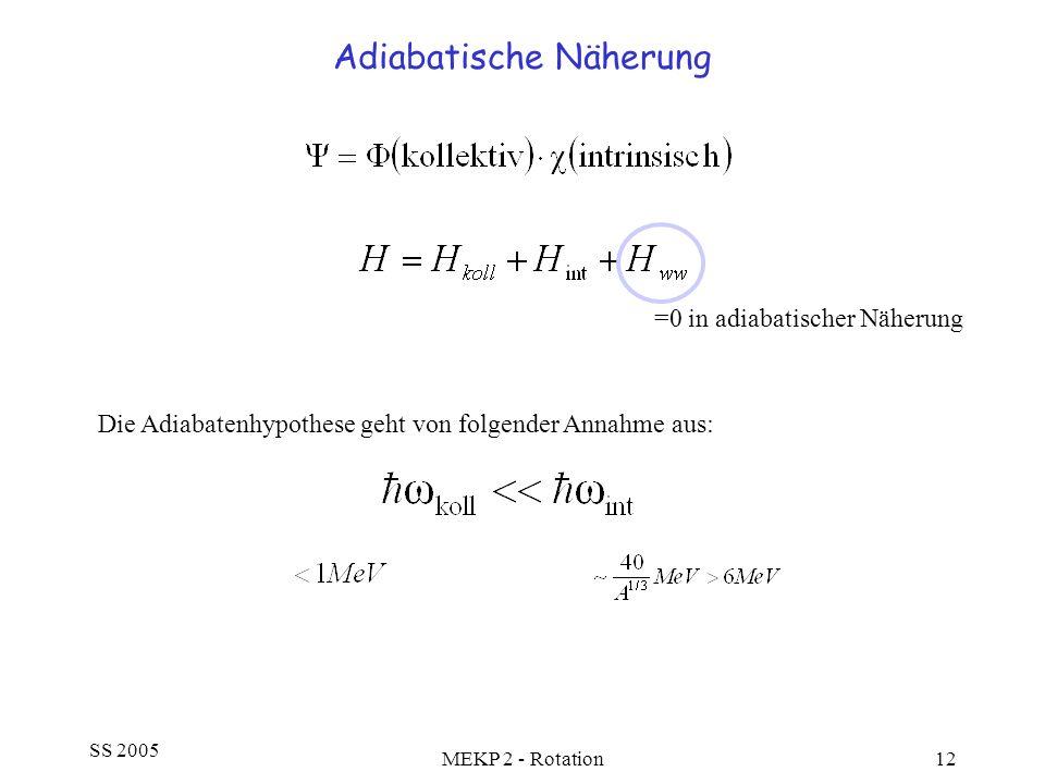 SS 2005 MEKP 2 - Rotation12 Adiabatische Näherung =0 in adiabatischer Näherung Die Adiabatenhypothese geht von folgender Annahme aus: