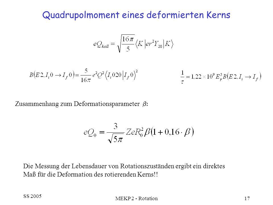 SS 2005 MEKP 2 - Rotation17 Quadrupolmoment eines deformierten Kerns Zusammenhang zum Deformationsparameter Die Messung der Lebensdauer von Rotationsz