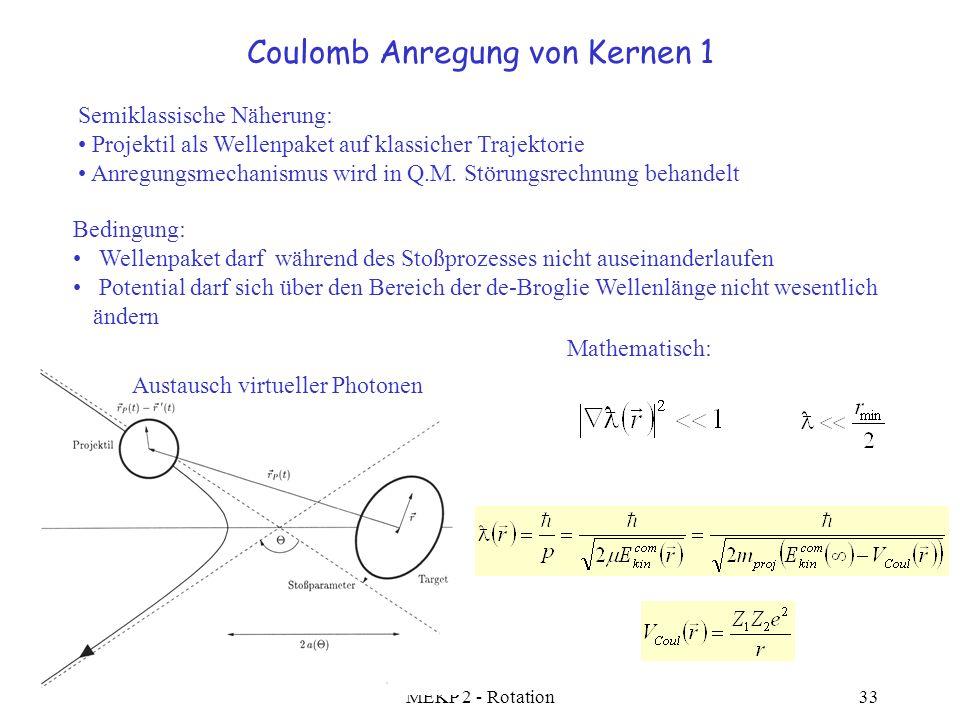 SS 2005 MEKP 2 - Rotation33 Coulomb Anregung von Kernen 1 Semiklassische Näherung: Projektil als Wellenpaket auf klassicher Trajektorie Anregungsmecha