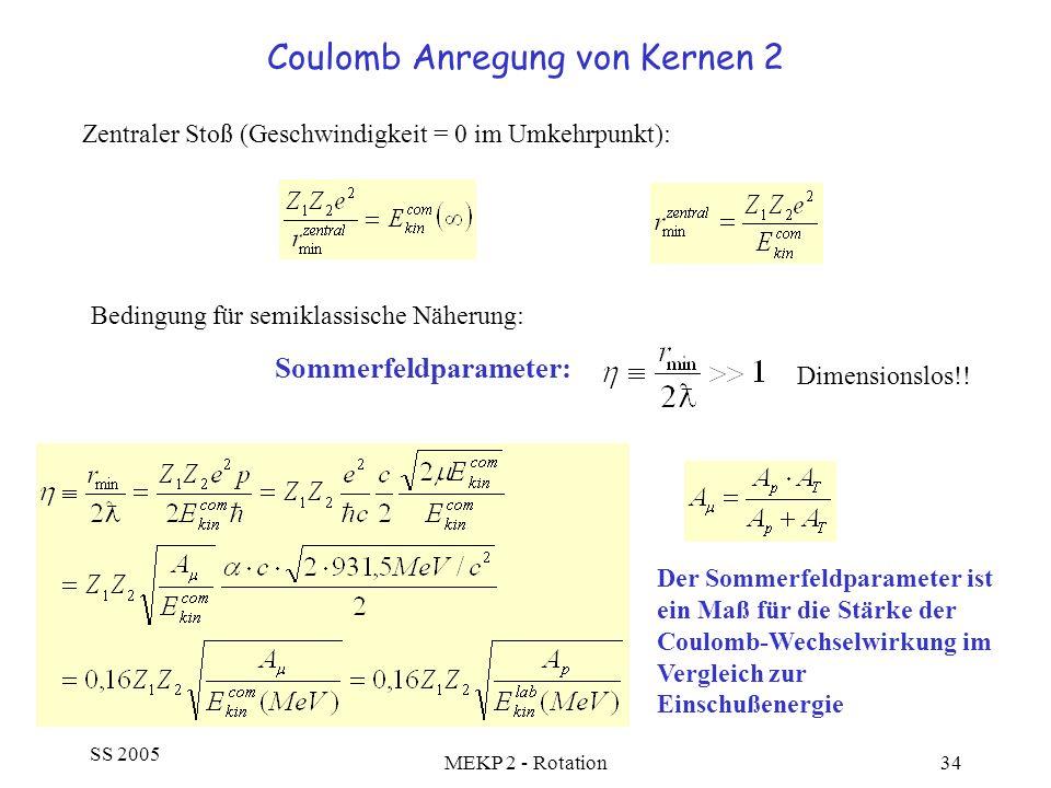 SS 2005 MEKP 2 - Rotation34 Coulomb Anregung von Kernen 2 Zentraler Stoß (Geschwindigkeit = 0 im Umkehrpunkt): Bedingung für semiklassische Näherung:
