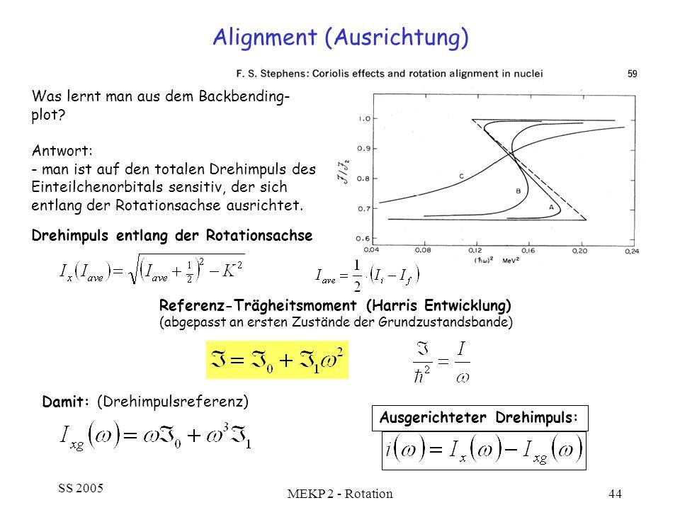 SS 2005 MEKP 2 - Rotation44 Alignment (Ausrichtung) Was lernt man aus dem Backbending- plot? Antwort: - man ist auf den totalen Drehimpuls des Einteil