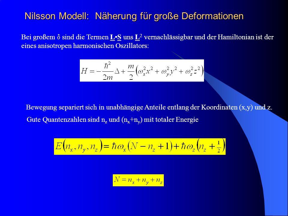 Nilsson Modell: Näherung für große Deformationen Bei großem sind die Termen LS uns L 2 vernachlässigbar und der Hamiltonian ist der eines anisotropen harmonischen Oszillators: Bewegung separiert sich in unabhängige Anteile entlang der Koordinaten (x,y) und z.