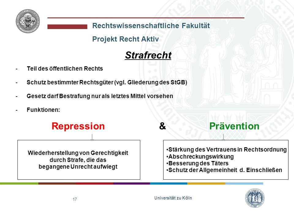 Rechtswissenschaftliche Fakultät Projekt Recht Aktiv Universit ä t zu K ö ln 18 Wunsch nach Bestrafung Strafrecht