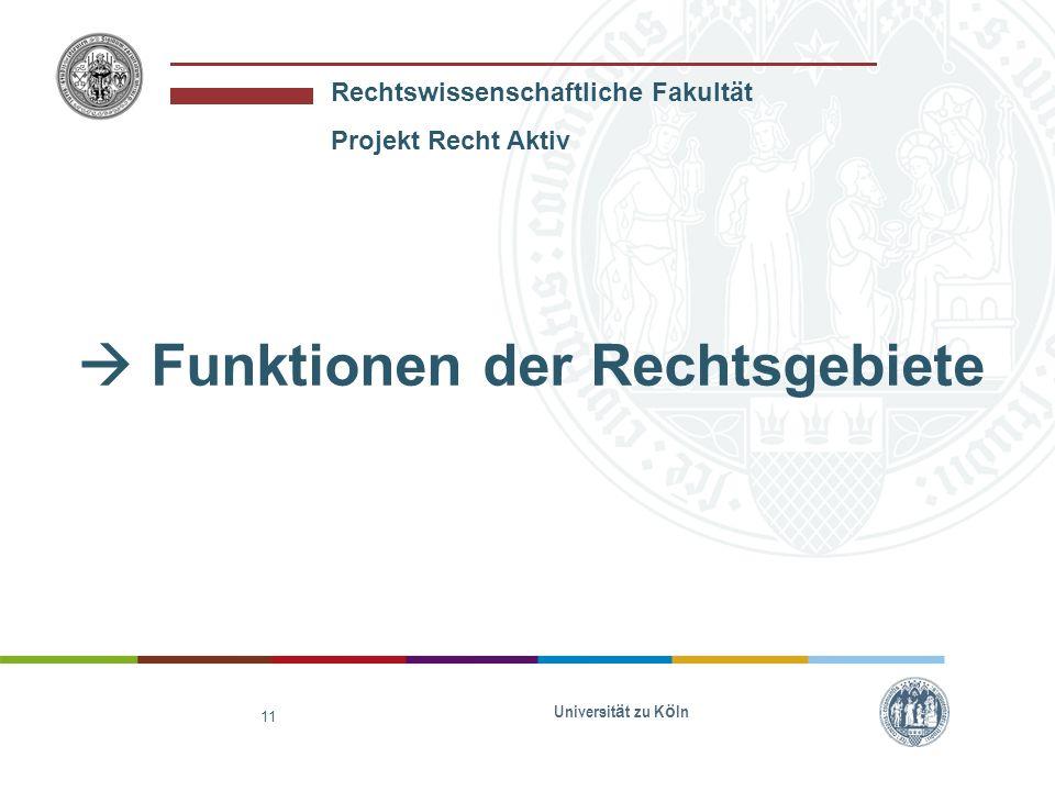 Rechtswissenschaftliche Fakultät Projekt Recht Aktiv Universit ä t zu K ö ln 11 Funktionen der Rechtsgebiete
