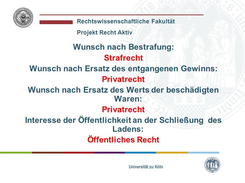 Rechtswissenschaftliche Fakultät Projekt Recht Aktiv Wunsch nach Bestrafung: Strafrecht Wunsch nach Ersatz des entgangenen Gewinns: Privatrecht Wunsch