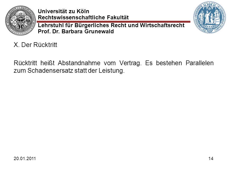 Universität zu Köln Rechtswissenschaftliche Fakultät Lehrstuhl für Bürgerliches Recht und Wirtschaftsrecht Prof. Dr. Barbara Grunewald 20.01.201114 X.