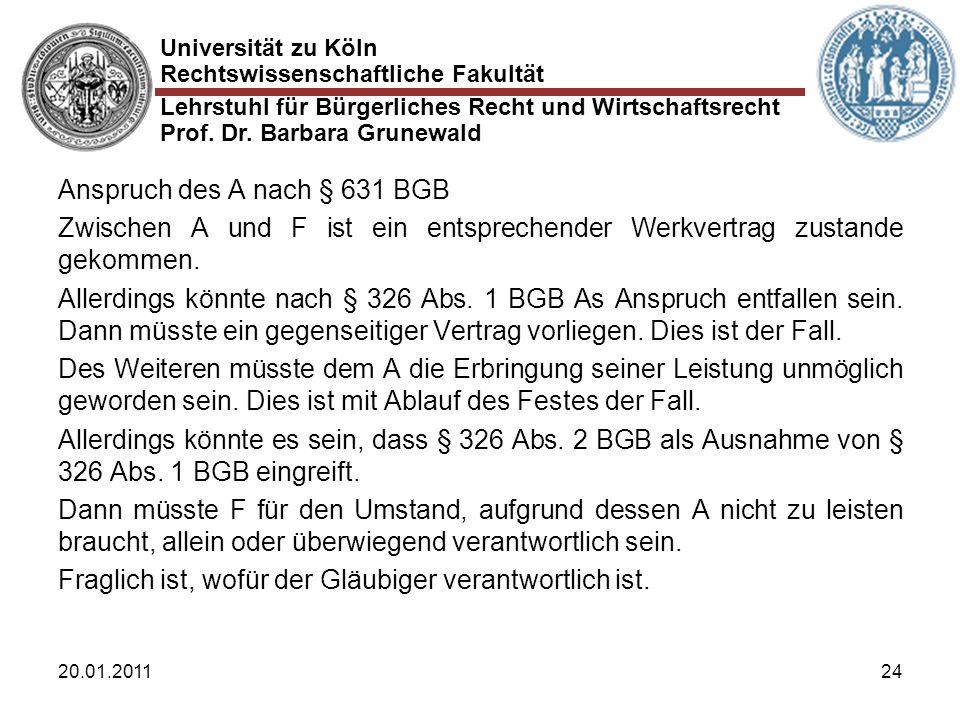 Universität zu Köln Rechtswissenschaftliche Fakultät Lehrstuhl für Bürgerliches Recht und Wirtschaftsrecht Prof. Dr. Barbara Grunewald 20.01.201124 An